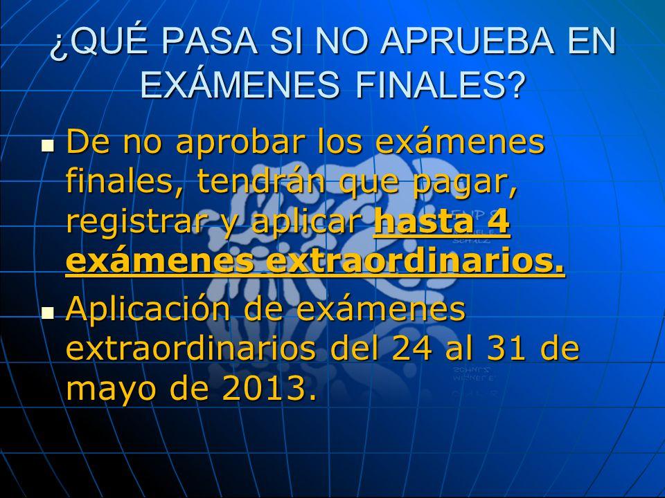 ¿QUÉ PASA SI NO APRUEBA EN EXÁMENES FINALES? De no aprobar los exámenes finales, tendrán que pagar, registrar y aplicar hasta 4 exámenes extraordinari