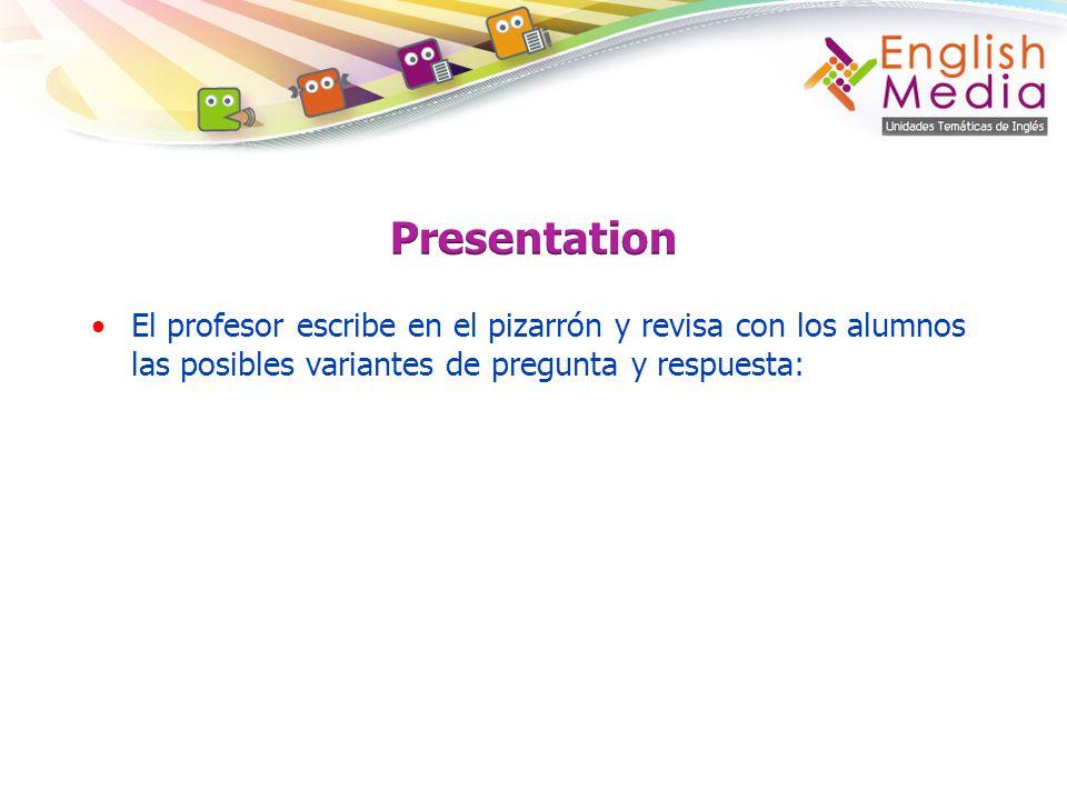 El profesor escribe en el pizarrón y revisa con los alumnos las posibles variantes de pregunta y respuesta: