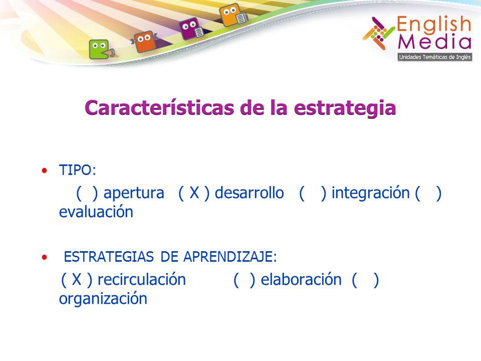 TIPO: ( ) apertura ( X ) desarrollo ( ) integración ( ) evaluación ESTRATEGIAS DE APRENDIZAJE: ( X ) recirculación ( ) elaboración ( ) organización