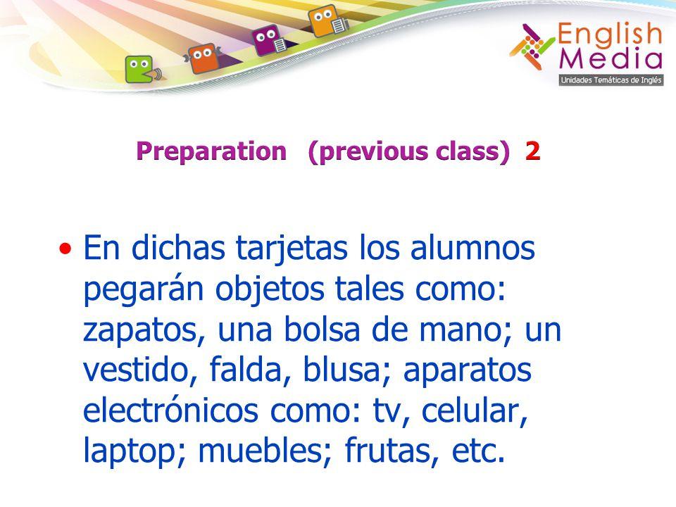 En dichas tarjetas los alumnos pegarán objetos tales como: zapatos, una bolsa de mano; un vestido, falda, blusa; aparatos electrónicos como: tv, celul