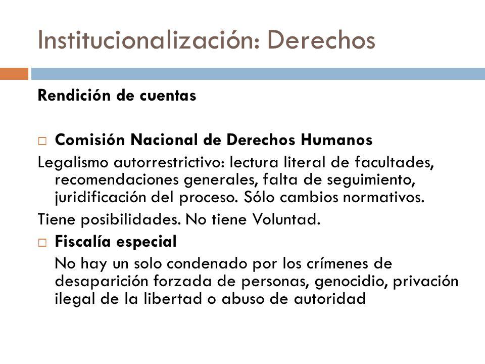 Institucionalización: Derechos Rendición de cuentas Comisión Nacional de Derechos Humanos Legalismo autorrestrictivo: lectura literal de facultades, recomendaciones generales, falta de seguimiento, juridificación del proceso.