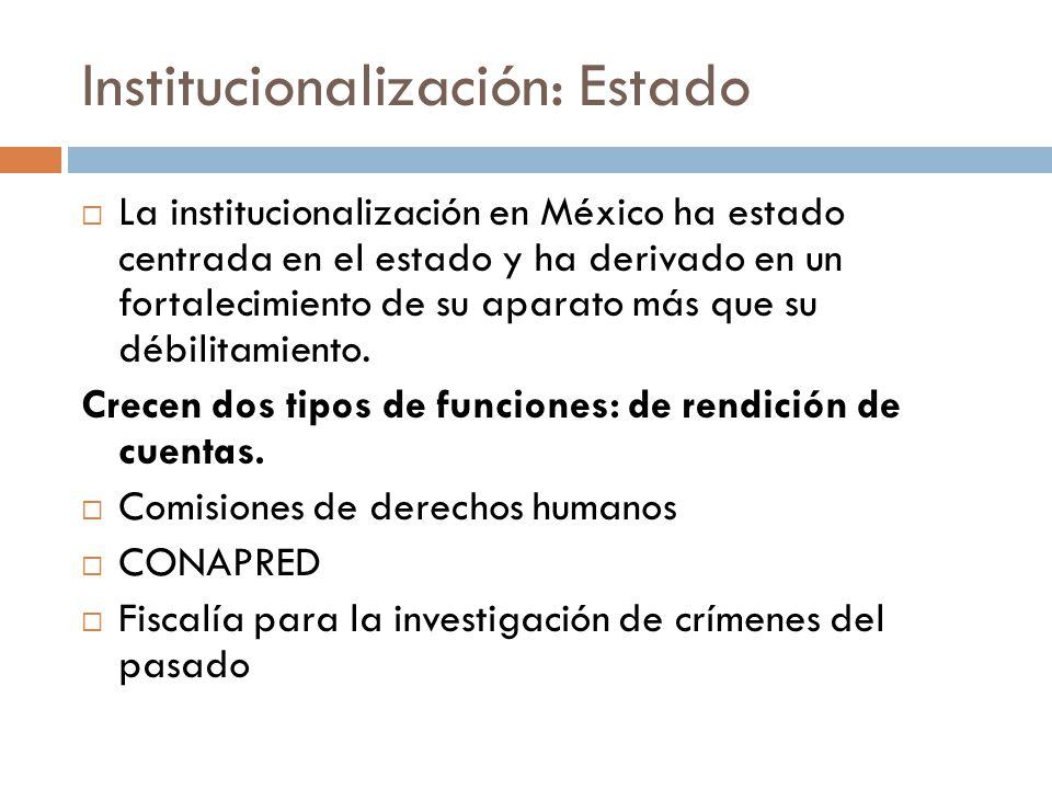 Institucionalización: Estado La institucionalización en México ha estado centrada en el estado y ha derivado en un fortalecimiento de su aparato más que su débilitamiento.