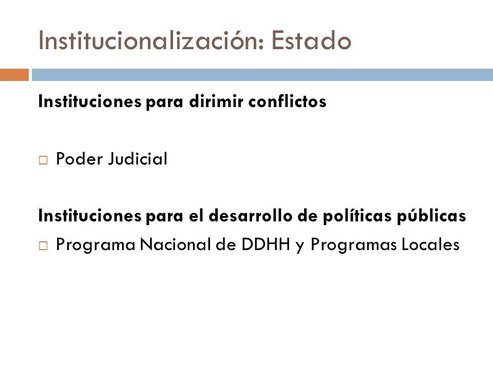 Institucionalización: Estado Instituciones para dirimir conflictos Poder Judicial Instituciones para el desarrollo de políticas públicas Programa Nacional de DDHH y Programas Locales