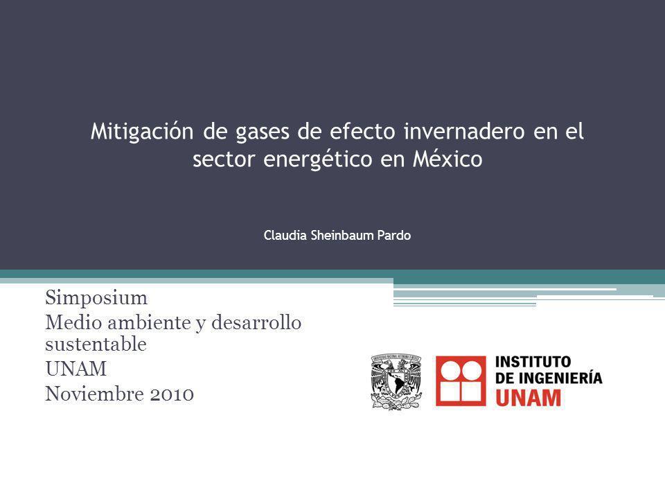 Mitigación de gases de efecto invernadero en el sector energético en México Claudia Sheinbaum Pardo Simposium Medio ambiente y desarrollo sustentable UNAM Noviembre 2010