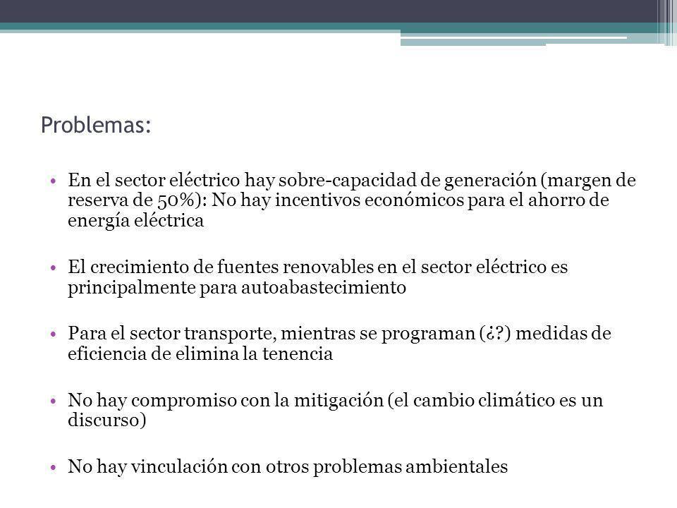 Problemas: En el sector eléctrico hay sobre-capacidad de generación (margen de reserva de 50%): No hay incentivos económicos para el ahorro de energía eléctrica El crecimiento de fuentes renovables en el sector eléctrico es principalmente para autoabastecimiento Para el sector transporte, mientras se programan (¿ ) medidas de eficiencia de elimina la tenencia No hay compromiso con la mitigación (el cambio climático es un discurso) No hay vinculación con otros problemas ambientales