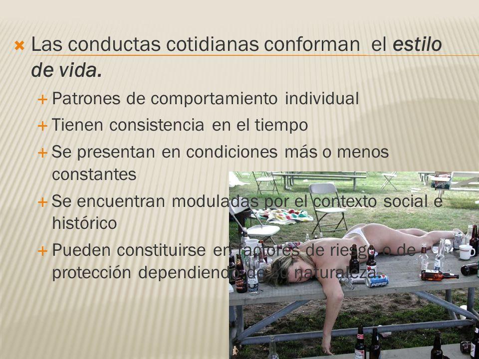 Las conductas cotidianas conforman el estilo de vida. Patrones de comportamiento individual Tienen consistencia en el tiempo Se presentan en condicion