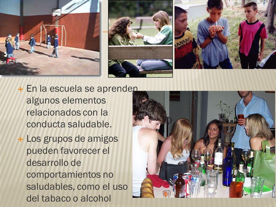 En la escuela se aprenden algunos elementos relacionados con la conducta saludable. Los grupos de amigos pueden favorecer el desarrollo de comportamie
