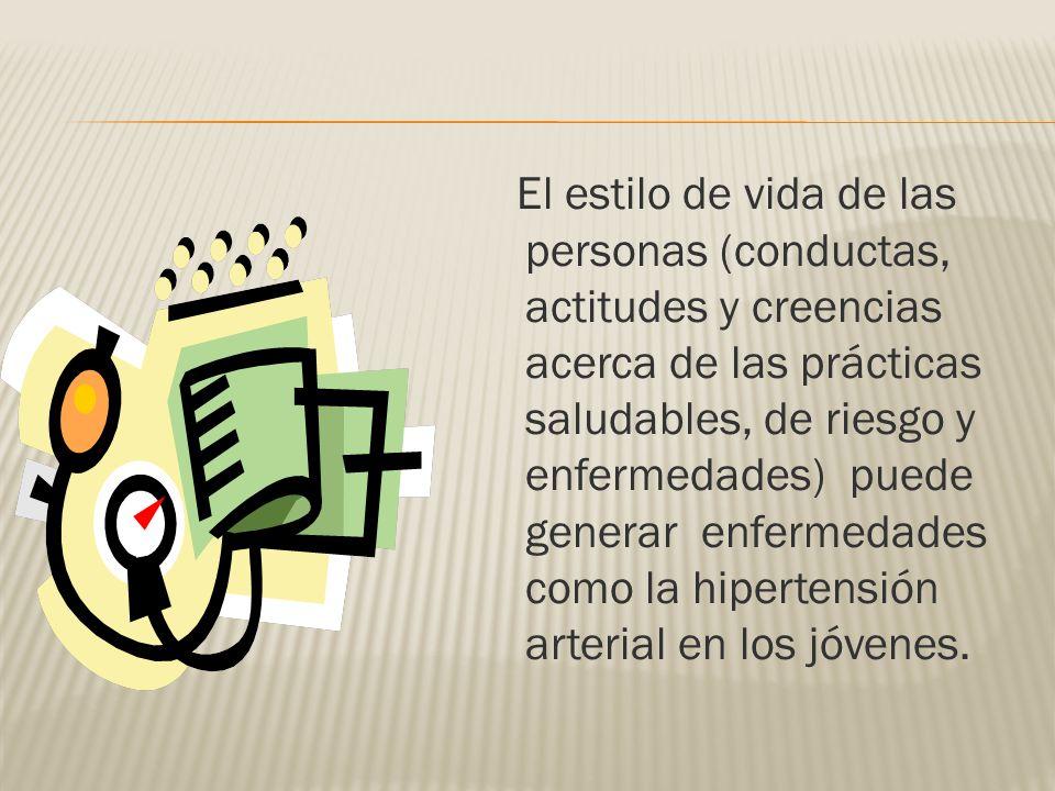 El estilo de vida de las personas (conductas, actitudes y creencias acerca de las prácticas saludables, de riesgo y enfermedades) puede generar enferm