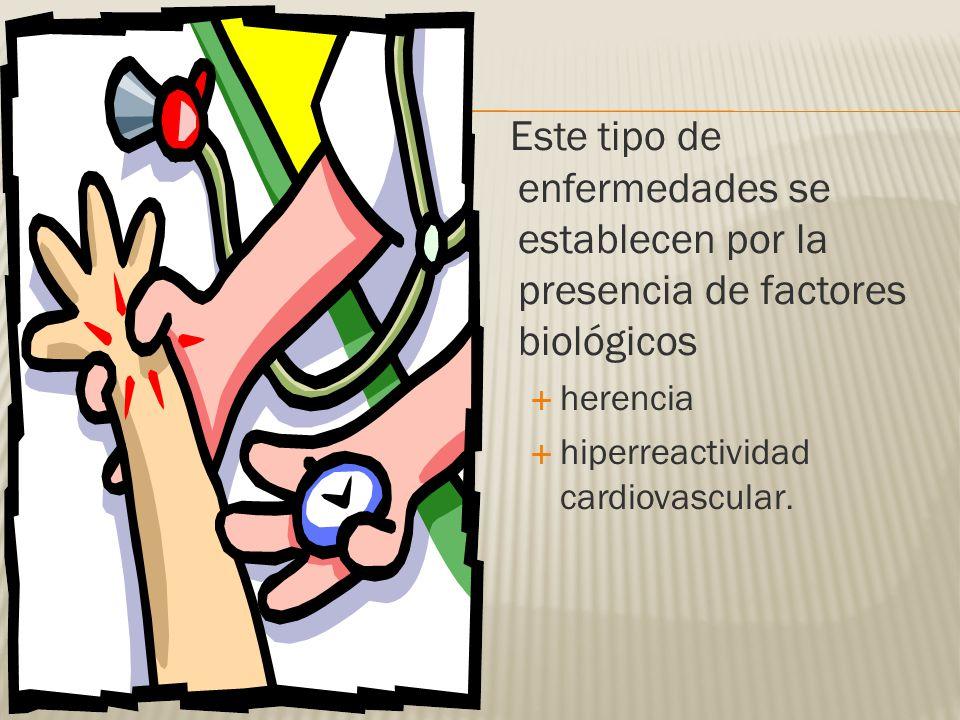 Este tipo de enfermedades se establecen por la presencia de factores biológicos herencia hiperreactividad cardiovascular.