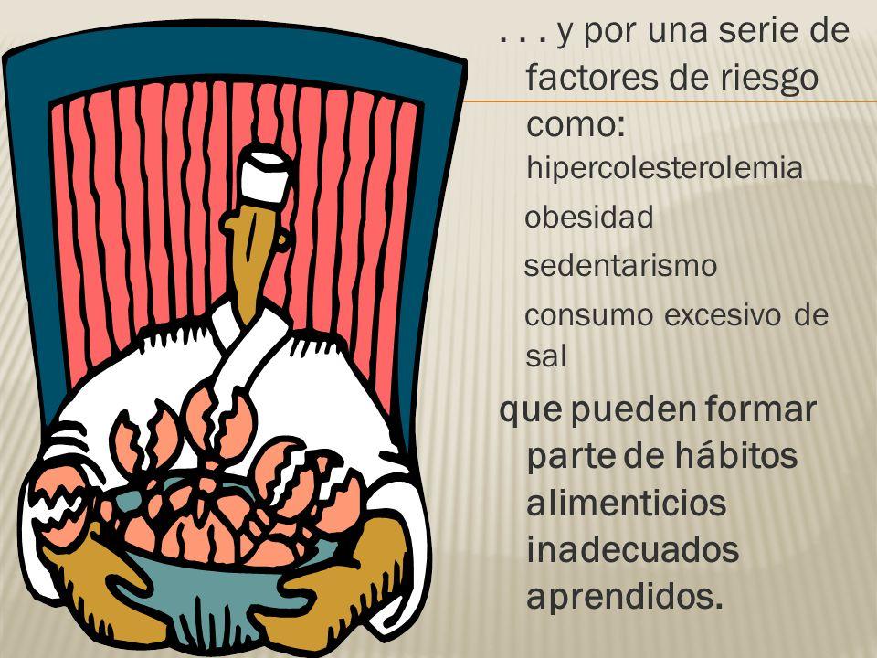 ... y por una serie de factores de riesgo como: hipercolesterolemia obesidad sedentarismo consumo excesivo de sal que pueden formar parte de hábitos a