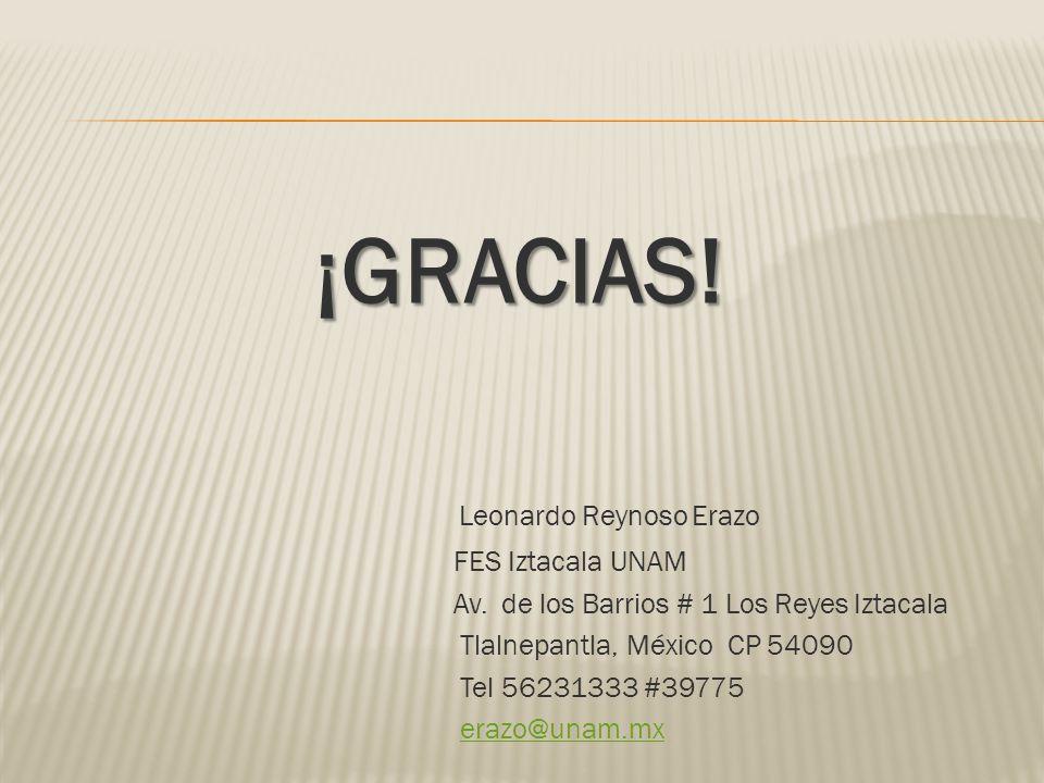 ¡GRACIAS! Leonardo Reynoso Erazo FES Iztacala UNAM Av. de los Barrios # 1 Los Reyes Iztacala Tlalnepantla, México CP 54090 Tel 56231333 #39775 erazo@u