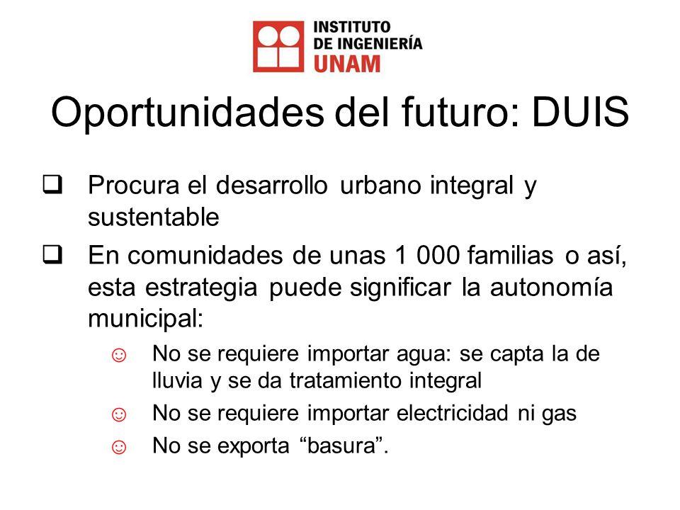 Oportunidades del futuro: DUIS Procura el desarrollo urbano integral y sustentable En comunidades de unas 1 000 familias o así, esta estrategia puede