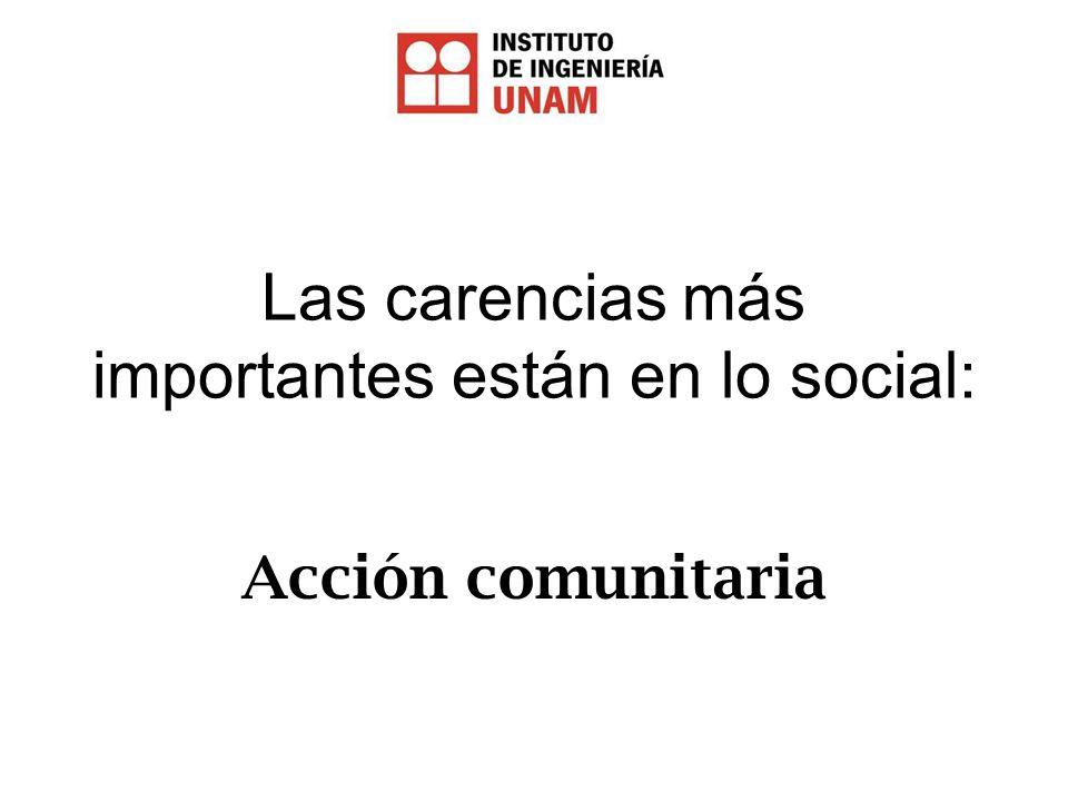 Las carencias más importantes están en lo social: Acción comunitaria