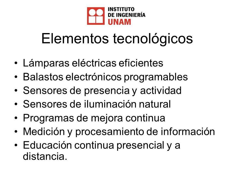 Elementos tecnológicos Lámparas eléctricas eficientes Balastos electrónicos programables Sensores de presencia y actividad Sensores de iluminación natural Programas de mejora continua Medición y procesamiento de información Educación continua presencial y a distancia.