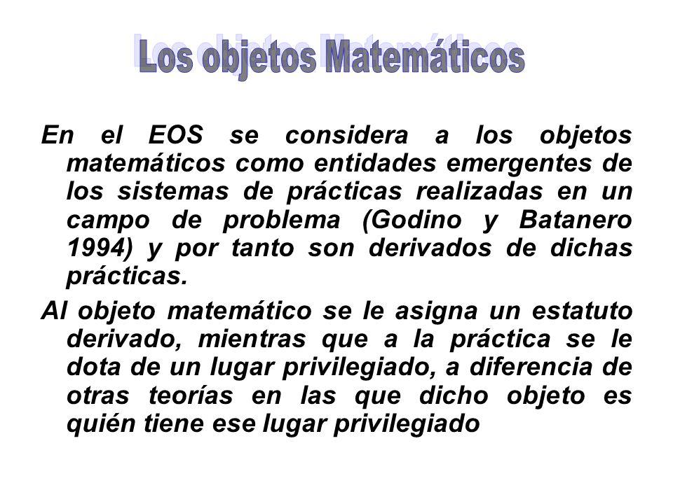 En el EOS se considera a los objetos matemáticos como entidades emergentes de los sistemas de prácticas realizadas en un campo de problema (Godino y B