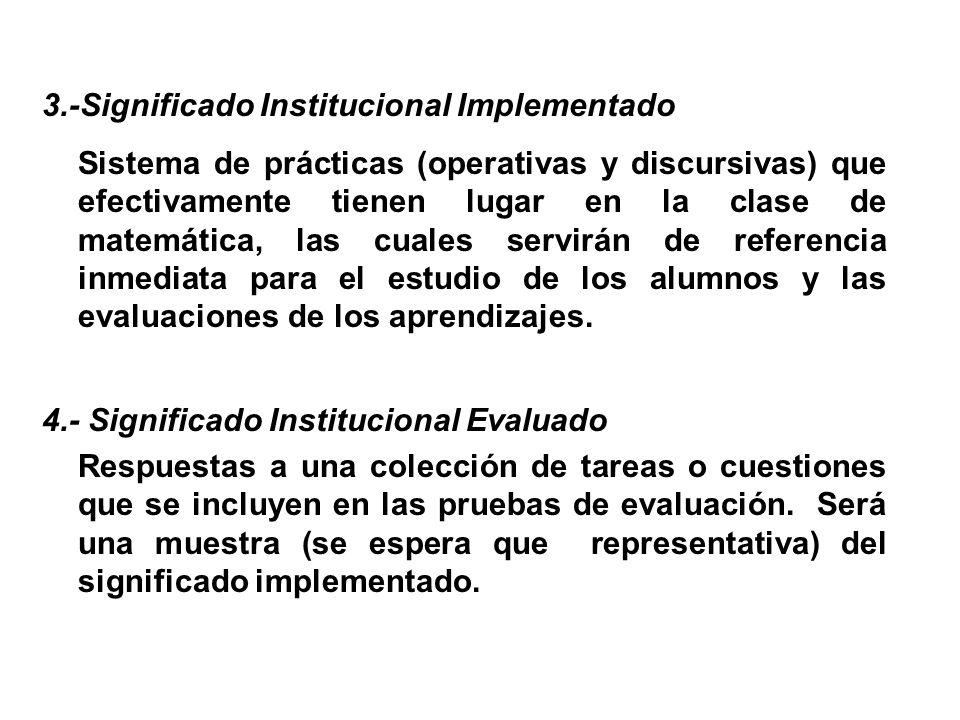 3.-Significado Institucional Implementado Sistema de prácticas (operativas y discursivas) que efectivamente tienen lugar en la clase de matemática, la