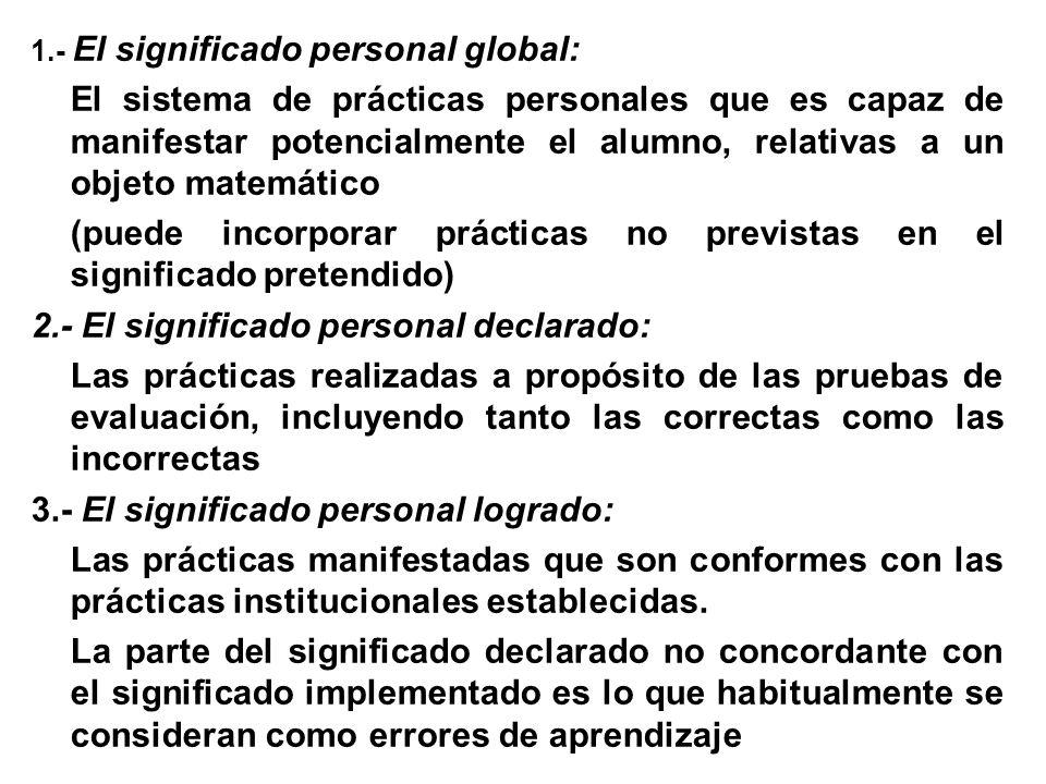 1.- El significado personal global: El sistema de prácticas personales que es capaz de manifestar potencialmente el alumno, relativas a un objeto mate
