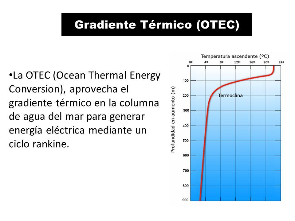 Energía OTEC La OTEC (Ocean Thermal Energy Conversion), aprovecha el gradiente térmico en la columna de agua del mar para generar energía eléctrica mediante un ciclo rankine.
