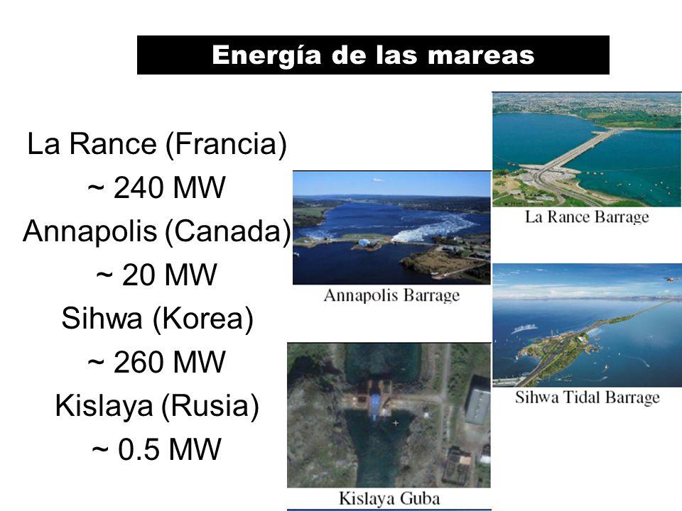 La Rance (Francia) ~ 240 MW Annapolis (Canada) ~ 20 MW Sihwa (Korea) ~ 260 MW Kislaya (Rusia) ~ 0.5 MW Maremotrices en operaciónEnergía de las mareas