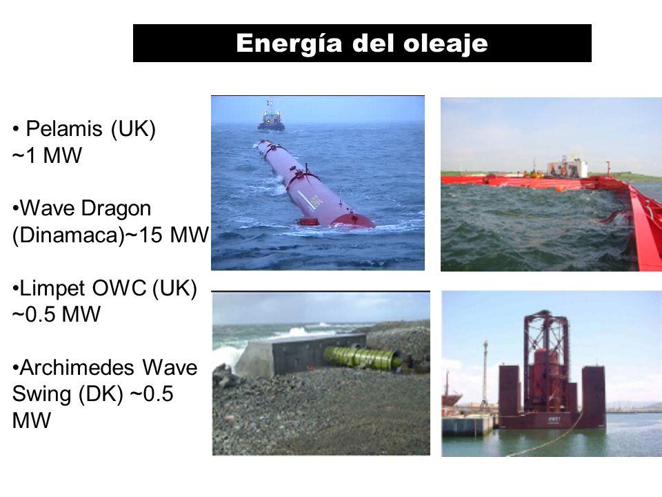 Pelamis (UK) ~1 MW Wave Dragon (Dinamaca)~15 MW Limpet OWC (UK) ~0.5 MW Archimedes Wave Swing (DK) ~0.5 MW Energía del oleaje