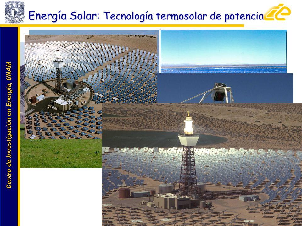 Centro de Investigación en Energía, UNAM Centro de Investigación en Energía, UNAM www.cie.unam.mx Energía Solar: Tecnología termosolar de potencia