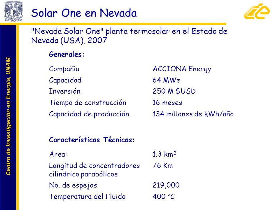Centro de Investigación en Energía, UNAM Centro de Investigación en Energía, UNAM Solar One en Nevada