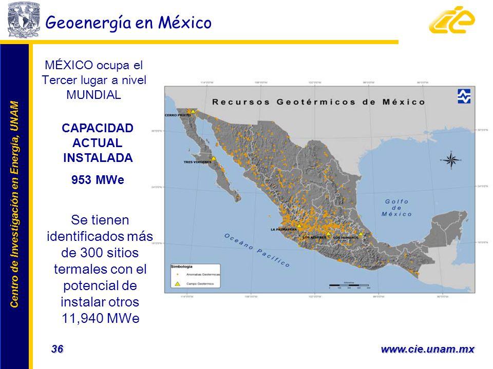 Centro de Investigación en Energía, UNAM Centro de Investigación en Energía, UNAM 36 www.cie.unam.mx CAPACIDAD ACTUAL INSTALADA 953 MWe Geoenergía en