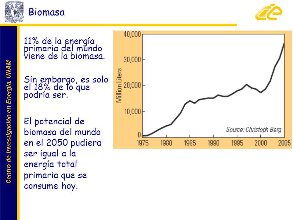 Centro de Investigación en Energía, UNAM Centro de Investigación en Energía, UNAM Biomasa 11% de la energía primaria del mundo viene de la biomasa. Si