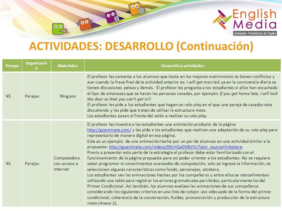 ACTIVIDADES: DESARROLLO (Continuación) Tiempo Organizació n MaterialesDesarrollo y actividades 45ParejasNinguno El profesor les comenta a los alumnos