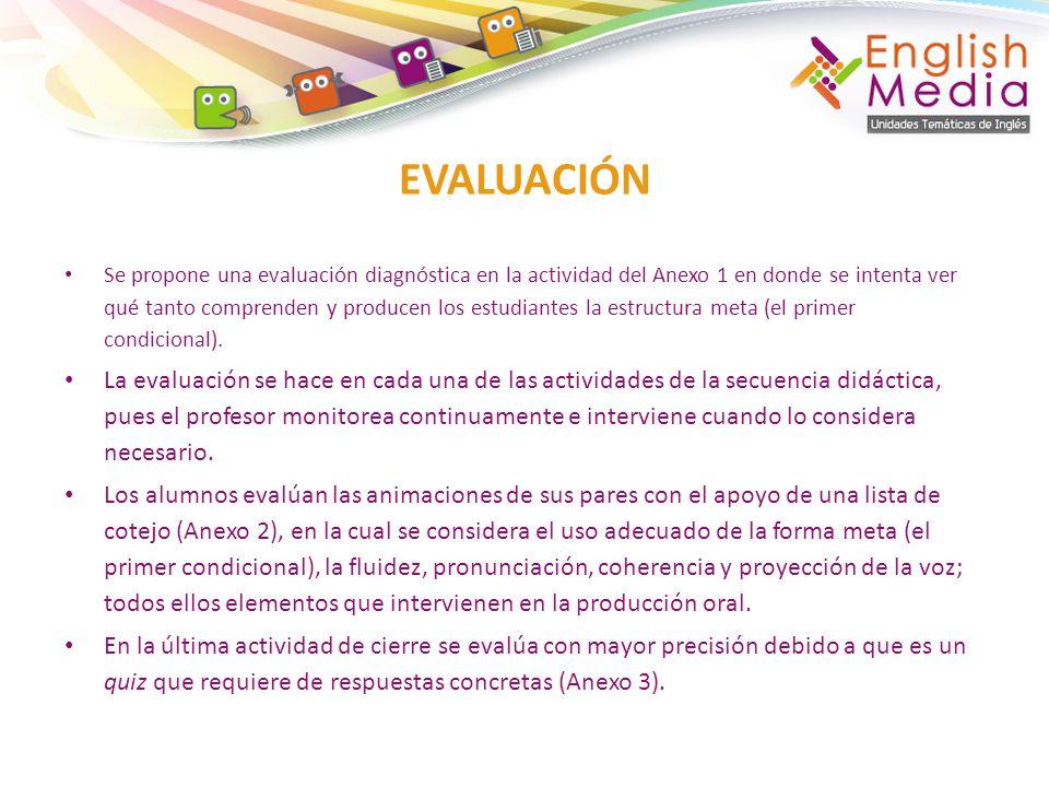 Se propone una evaluación diagnóstica en la actividad del Anexo 1 en donde se intenta ver qué tanto comprenden y producen los estudiantes la estructur