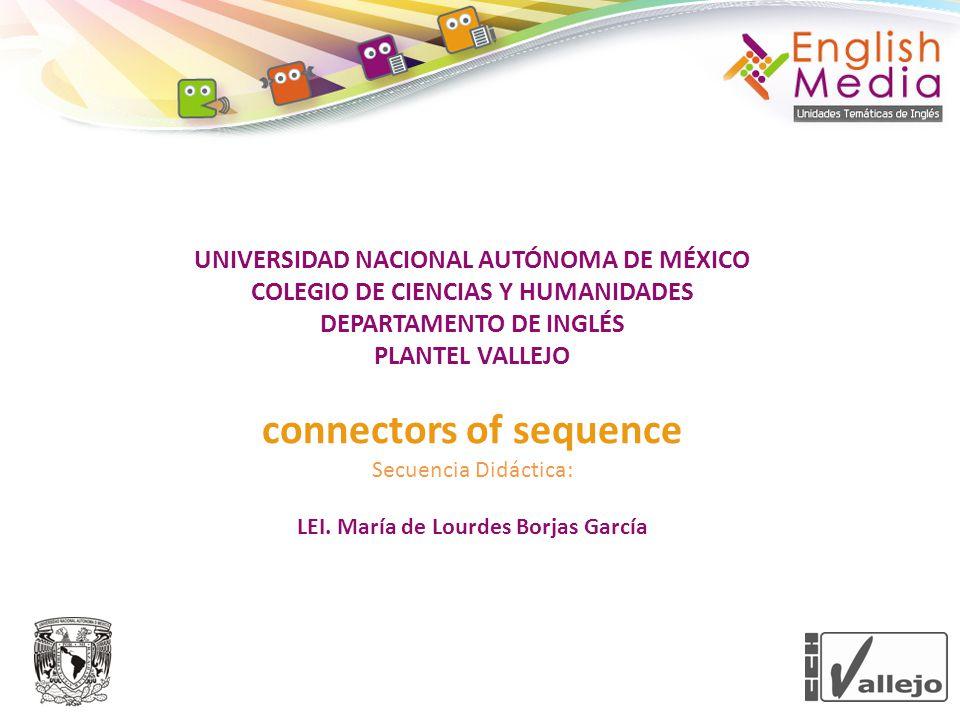 UNIVERSIDAD NACIONAL AUTÓNOMA DE MÉXICO COLEGIO DE CIENCIAS Y HUMANIDADES DEPARTAMENTO DE INGLÉS PLANTEL VALLEJO connectors of sequence Secuencia Didáctica: LEI.