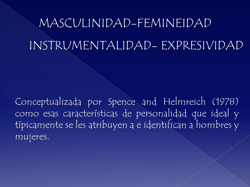 Conceptualizada por Spence and Helmreich (1978) como esas características de personalidad que ideal y típicamente se les atribuyen a e identifican a h