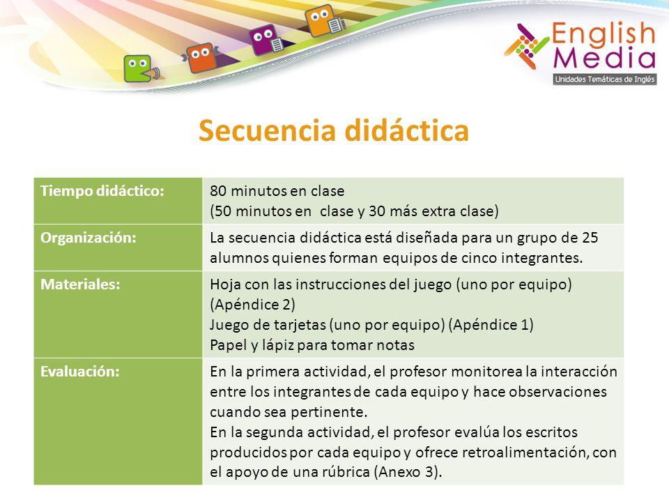 Secuencia didáctica Tiempo didáctico:80 minutos en clase (50 minutos en clase y 30 más extra clase) Organización:La secuencia didáctica está diseñada