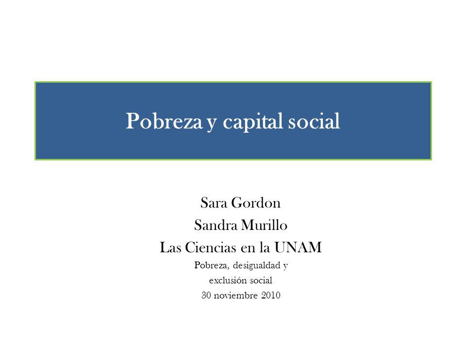 Pobreza y capital social Sara Gordon Sandra Murillo Las Ciencias en la UNAM Pobreza, desigualdad y exclusión social 30 noviembre 2010