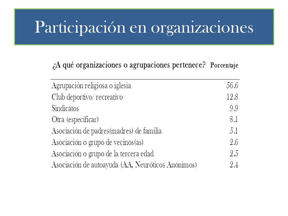 Participación en organizaciones