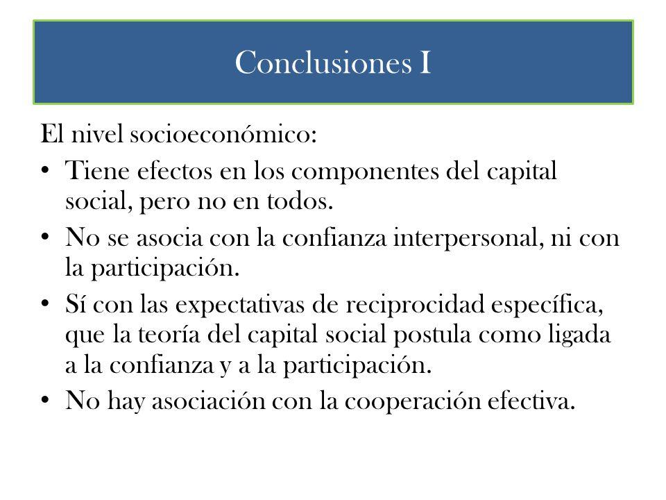 Conclusiones I El nivel socioeconómico: Tiene efectos en los componentes del capital social, pero no en todos.
