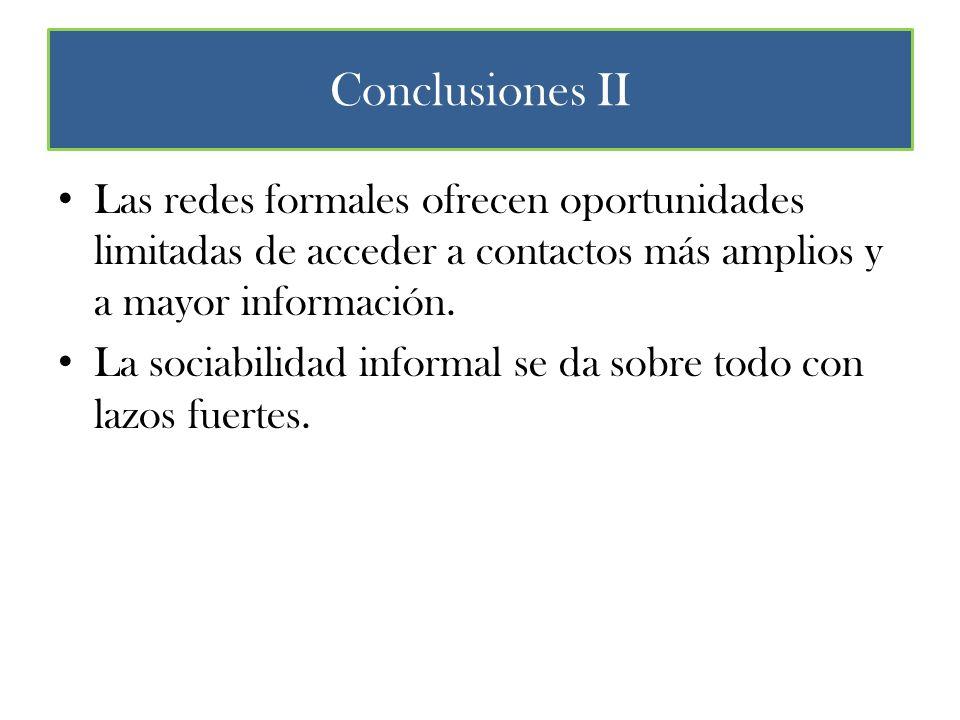 Conclusiones II Las redes formales ofrecen oportunidades limitadas de acceder a contactos más amplios y a mayor información.