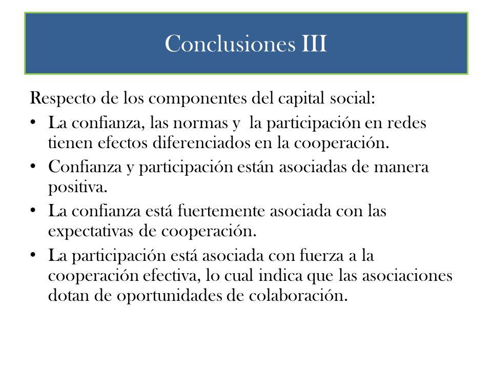Conclusiones III Respecto de los componentes del capital social: La confianza, las normas y la participación en redes tienen efectos diferenciados en la cooperación.
