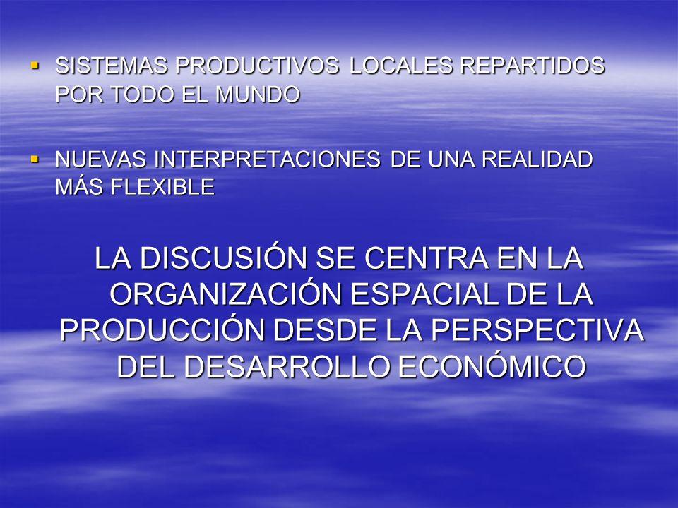 SISTEMAS PRODUCTIVOS LOCALES REPARTIDOS POR TODO EL MUNDO SISTEMAS PRODUCTIVOS LOCALES REPARTIDOS POR TODO EL MUNDO NUEVAS INTERPRETACIONES DE UNA REALIDAD MÁS FLEXIBLE NUEVAS INTERPRETACIONES DE UNA REALIDAD MÁS FLEXIBLE LA DISCUSIÓN SE CENTRA EN LA ORGANIZACIÓN ESPACIAL DE LA PRODUCCIÓN DESDE LA PERSPECTIVA DEL DESARROLLO ECONÓMICO