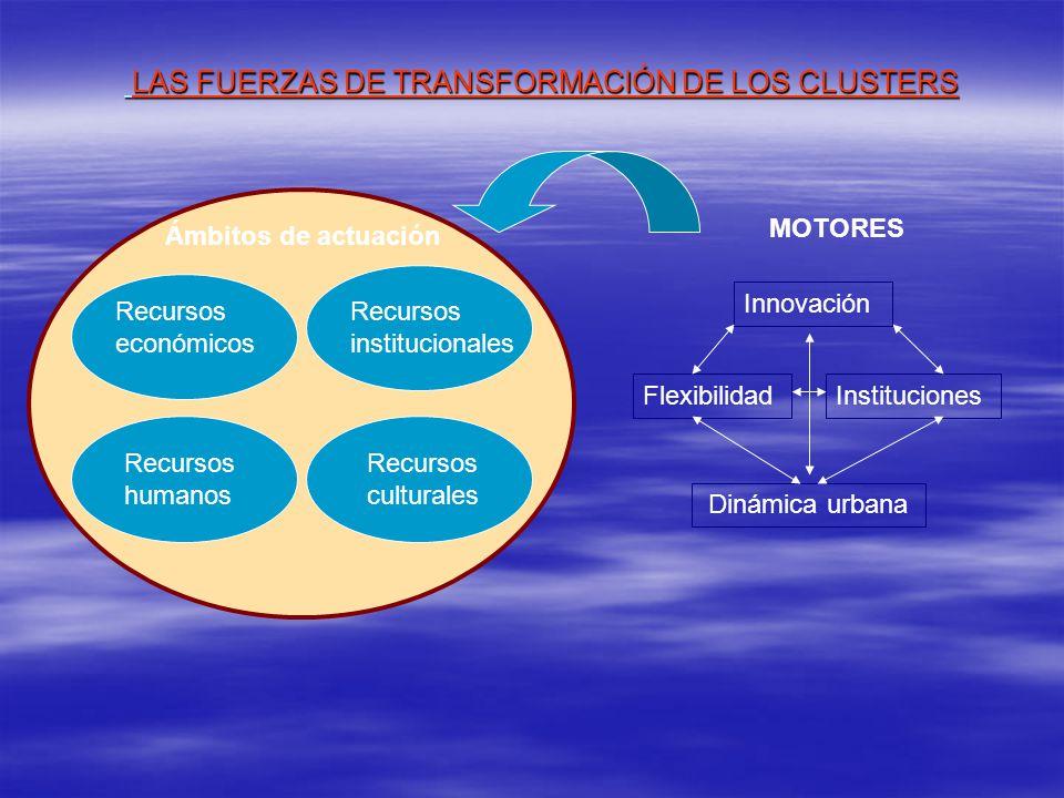 LAS FUERZAS DE TRANSFORMACIÓN DE LOS CLUSTERS LAS FUERZAS DE TRANSFORMACIÓN DE LOS CLUSTERS Recursos económicos Recursos humanos Recursos institucionales Recursos culturales Ámbitos de actuación MOTORES Innovación InstitucionesFlexibilidad Dinámica urbana