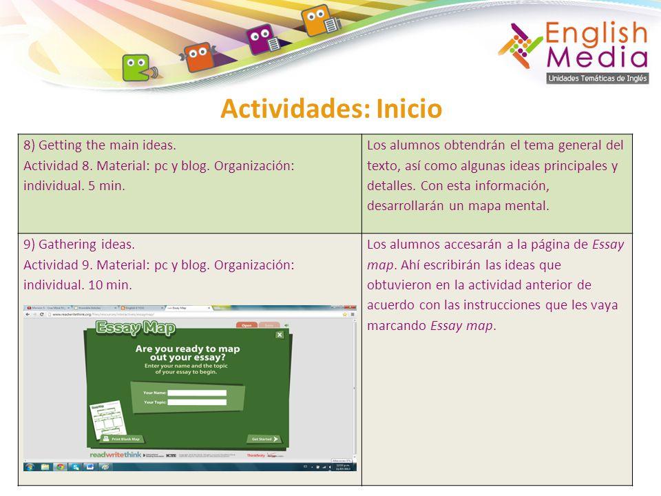 Actividades: Inicio 8) Getting the main ideas. Actividad 8. Material: pc y blog. Organización: individual. 5 min. Los alumnos obtendrán el tema genera