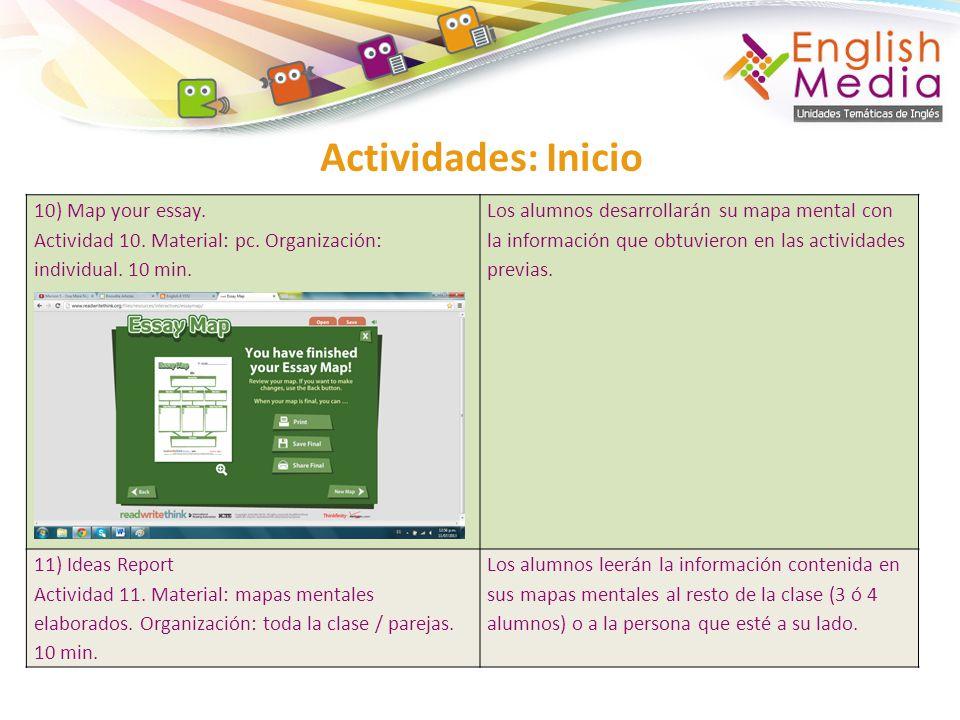 Actividades: Inicio 10) Map your essay. Actividad 10. Material: pc. Organización: individual. 10 min. Los alumnos desarrollarán su mapa mental con la
