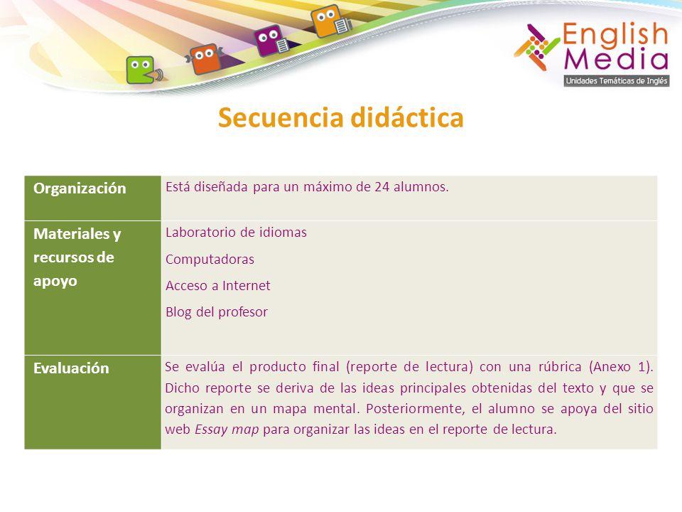 Secuencia didáctica Organización Está diseñada para un máximo de 24 alumnos. Materiales y recursos de apoyo Laboratorio de idiomas Computadoras Acceso