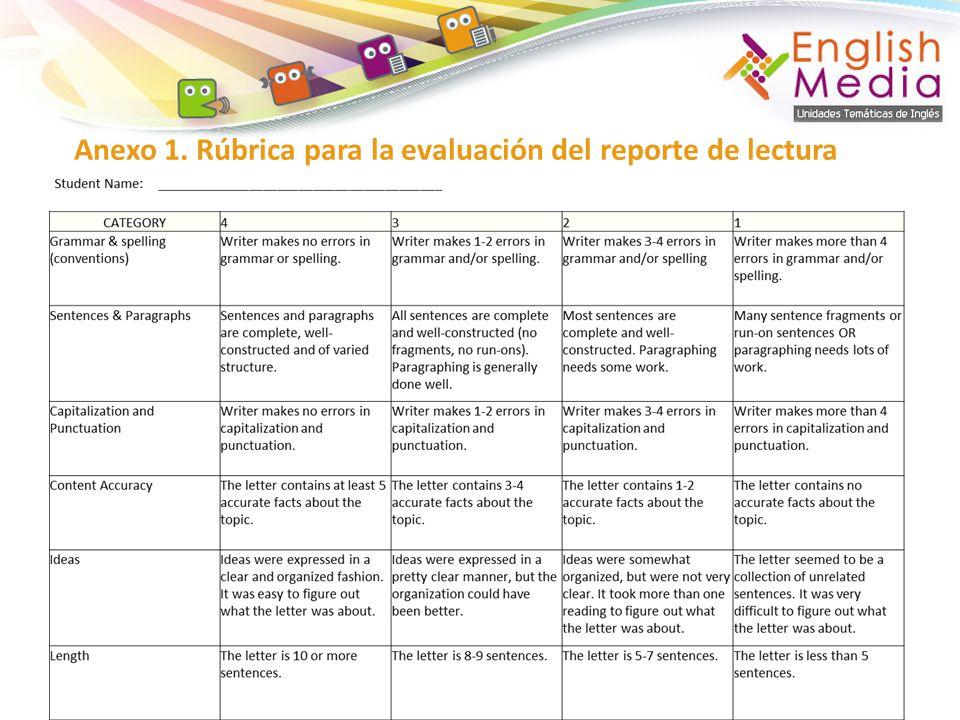Anexo 1. Rúbrica para la evaluación del reporte de lectura