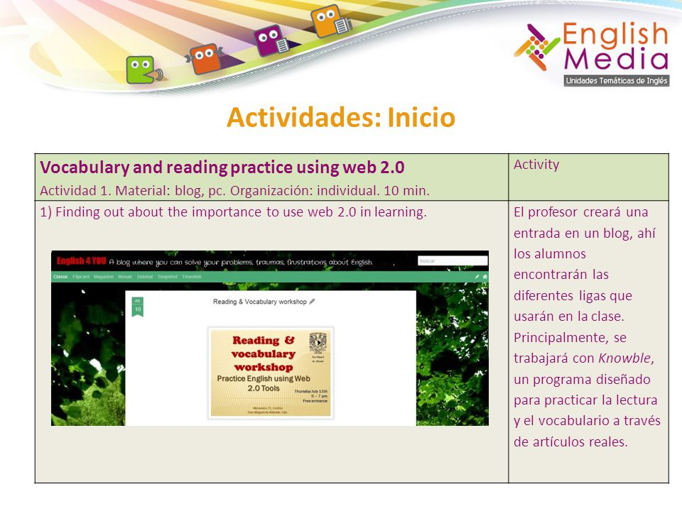 Actividades: Inicio Vocabulary and reading practice using web 2.0 Actividad 1. Material: blog, pc. Organización: individual. 10 min. Activity 1) Findi