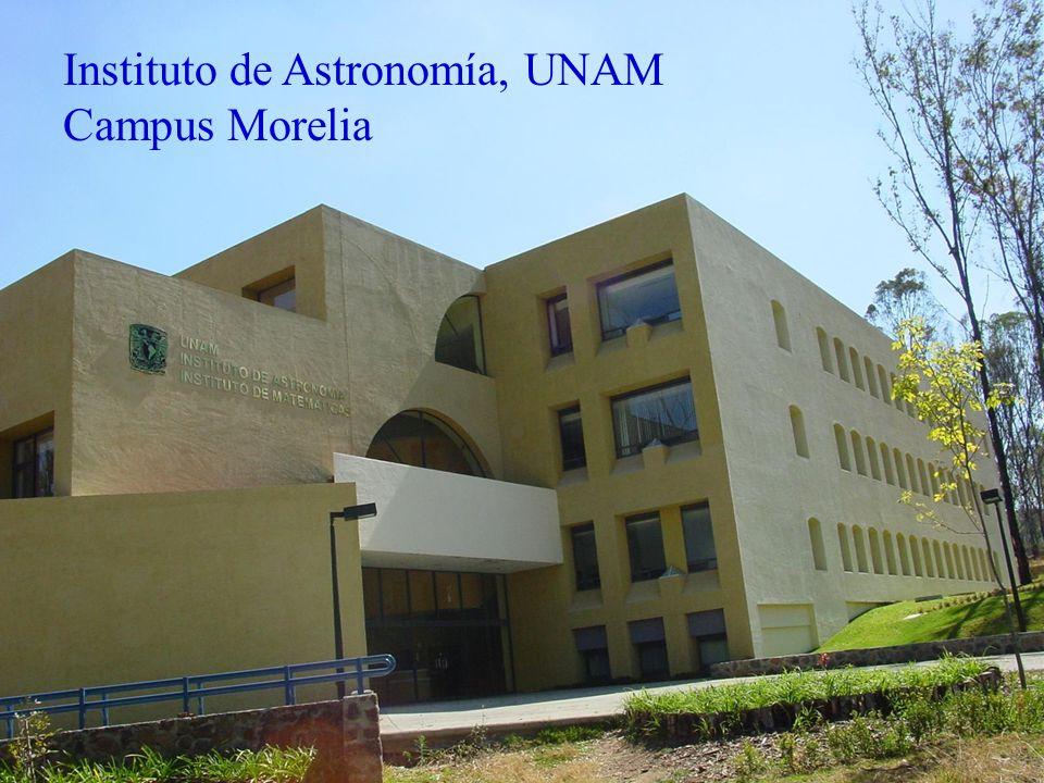 Instituto de Astronomía, UNAM Campus Morelia 19 investigadores Realizamos investigación, docencia, y divulgación Becas de la UNAM para tesis de licenciatura Programa de Maestría y Doctorado en Astronomía Escuela de Astrofísica de Verano (2001, 2003, 2005) Veranos de la Investigación de la AMC l.rodriguez@astrosmo.unam.mx