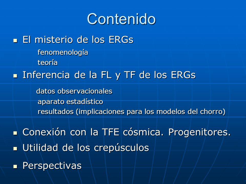 Contenido El misterio de los ERGs El misterio de los ERGsfenomenología teoría teoría Inferencia de la FL y TF de los ERGs Inferencia de la FL y TF de los ERGs datos observacionales datos observacionales aparato estadístico resultados (implicaciones para los modelos del chorro) Conexión con la TFE cósmica.