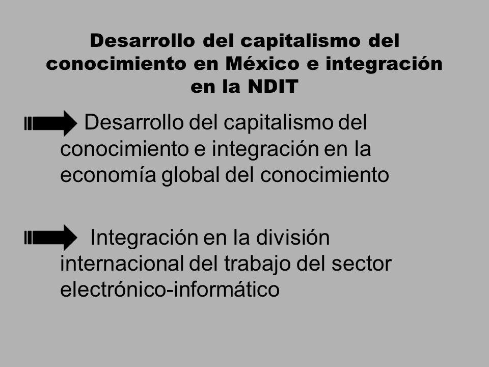 Desarrollo del capitalismo del conocimiento en México e integración en la NDIT Desarrollo del capitalismo del conocimiento e integración en la economía global del conocimiento Integración en la división internacional del trabajo del sector electrónico-informático