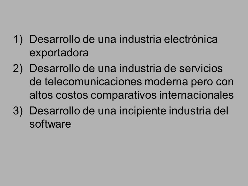 1)Desarrollo de una industria electrónica exportadora 2)Desarrollo de una industria de servicios de telecomunicaciones moderna pero con altos costos comparativos internacionales 3)Desarrollo de una incipiente industria del software