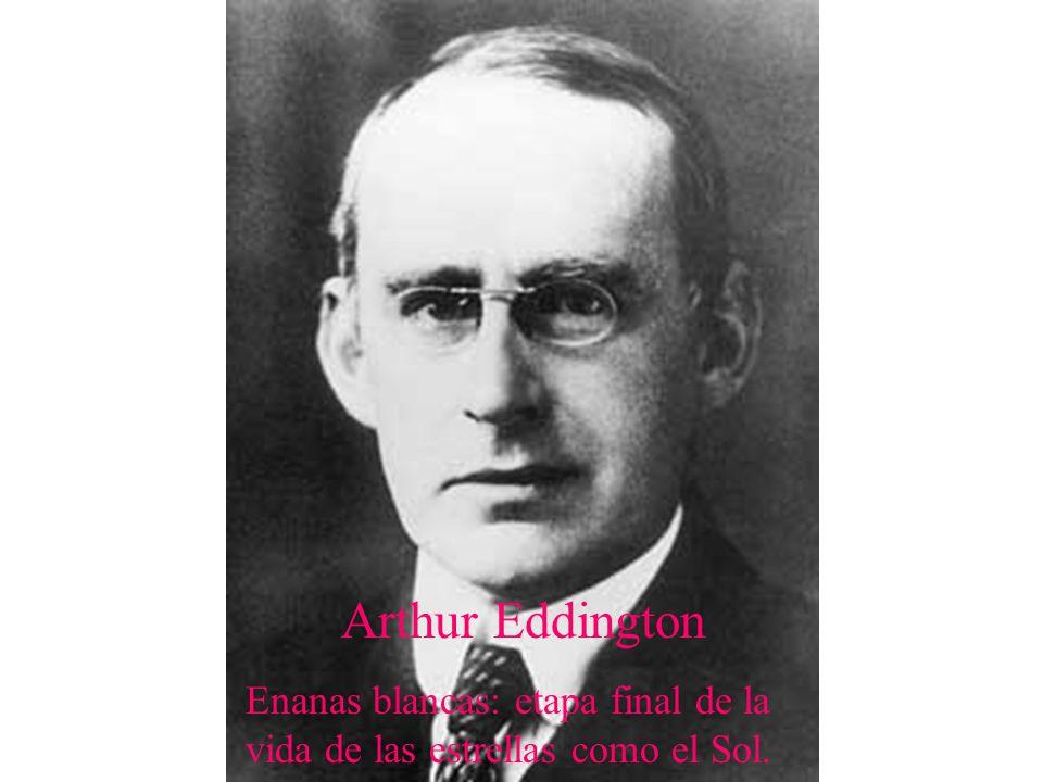 Arthur Eddington Enanas blancas: etapa final de la vida de las estrellas como el Sol.